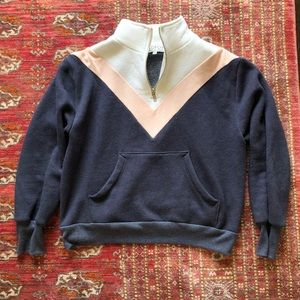 Wildfox Colorblock Warm Up Half Zip Pullover XS